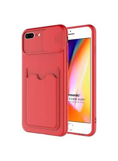 Microsonic Apple İphone 7 Plus Kılıf Inside Card Slot Kırmızı Kırmızı